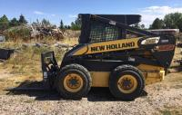 "2007 New Holland skid steer L185, VIN#N7M464995 (Forks sold separately) 6'6"" Bucket, weights & 4 additional winter tires, 35th Anniversary, Cab with A/C and heat. Hand and foot controls Turbo diesel,"