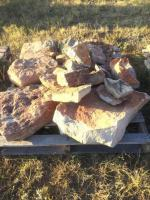 Pallet of Flag Stone, two pieces Moss Rock