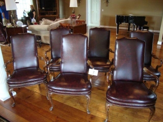 6 Leather Arm Chairs  25X42