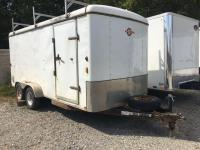 Mt. Eaton enclosed trailer- 16ft x 7ft wide - dual axle - rear and side doors - roof rack *No title - Storage ONLY*