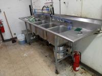 4 bay stainless steel sink with grease tap- disposal - sprayer etc. - 28 d x 48 h x 108 w Z- needs to be gently removed