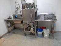 Stainless steel dish machine tables - dishwasher not included - 31 d x 48 h x 48 w + 36 w