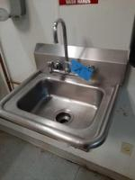 Hand washing stainless sink - needs to be gently removed from the wall -17 x 16 x 21