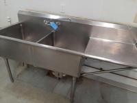 2 bowl prep sink - 27 x 45 x 77