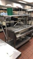 San Jamar 3 port heating/steam table w/ shelf and contents; 32