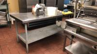 Stainless steel prep table w/ contents on table