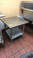 Small stainless steel table; 24