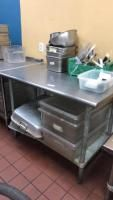 Stainless steel prep table(contents not included); 48