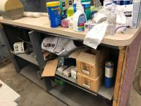 "80"" x 23"" x 43"" wooden counter top section/cleaning supplies, dispensers, and more"