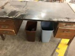 "Wooden office desk 66"" x 36"", trash cans"