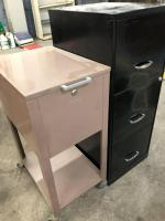 Metal file cabinet/3 drawers, rolling file cabinet