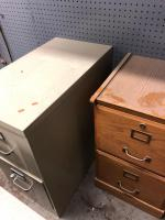 Metal file cabinet/2 drawers, wooden file cabinet, two drawers