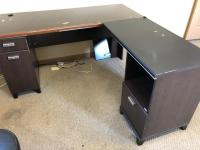 "Corner office desk, 60"" x 23"", 36"" x 19"" sections"
