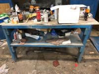 "72"" x 36"" x 36"" wooden work table/content"
