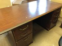 "72"" x 36"" wooden desk, 39"" x 22"" x 30"" matching wooden file cabinet"