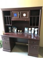 "I 61"" x 23"" office desk with upper shelf section, matching wood file cabinet 38"" x 22"" x 30"""