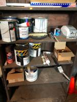 Contents of shelving units/paint, rollers, brushes, spray paint, fasteners, cable and much more