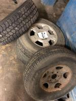 3 tires with rims, Good year tire, sizes are pictured