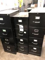 Three metal file cabinets/4 drawers