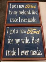 "14"" x 11"" his and hers Ford signs"
