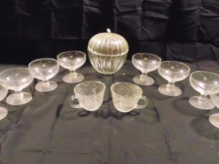 (8) Custard Cups, Glass Candy Dish and (2) Tea Cups