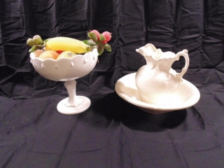 "7"" Pitcher with 10"" Wash Basin &' Footed Fruit Bowl"