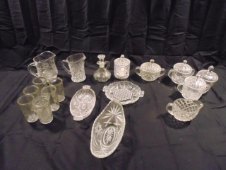 Lot of Cut Glass; 3 Pitchers, 5 Small Glass Cups , Sugar & Creamer, 3 Bowls With Lids and 3 Candy Dishes
