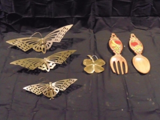 Home Dcor; (3) Brass Butterflies, Fork And Spoon & Brass Four Leaf Clover