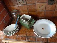 4 - hall baking dishes - hall pot , no lid - ironstone china plate