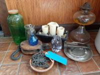 Lot of mostly vintage items including brass hose nozzle - wooden pulley - jars - Allegheny metal ashtray - ink bottle - glass owl etc.