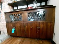 Lead glass vintage cabinet - contents included - 16