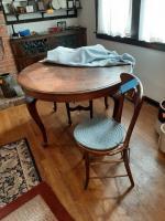 Antique 6 legged table - 1 chair- 47.5