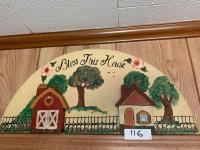 Bless This House half oval Wood Plaque; Clock; Ceramic Hanging Vegetables
