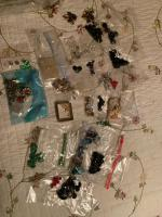 Lot of misc costume jewelry, vintage buttons and jewelry making items