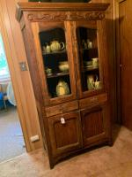 Antique cabinet with glass doors (some damage)