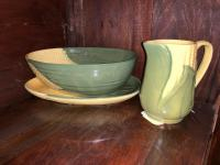 Shawnee Pottery creamer, vegetable bowl and plate