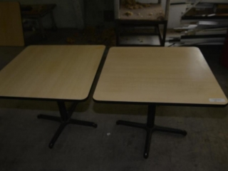 4 RESTAURANT TABLE 30 X 42, BROWN FORMICA TOPS, ROUND METAL PEDASTAL AND 4 LEG BASED, MINOR SCRATCHES AND DISCOLORATION