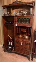 Antique secretary with leaded glass door (missing some shelves)