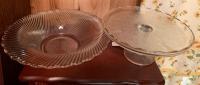 Glass bowl, cake plate, 2 vases