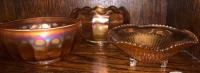 3 orange irredescent bowls