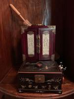 Asian black laquered jewelry box with inlay, Asian style jewelry chest with brass accents, wooden umbrella