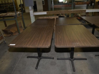 5 RESTAURANT TABLE 30 X 42, BROWN FORMICA TOPS, ROUND METAL PEDASTAL AND 4 LEG BASED, MINOR SCRATCHES AND DISCOLORATION