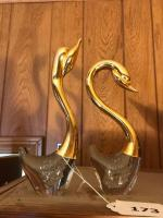 2 polished bottom paper weight swans