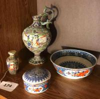 Tiffany & Co bowl & covered jar; Asian style vase/ pitcher( small chip; Asian vase