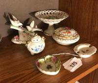Capodimonte birds; Napco pedestal dish; Limoges covered jar;