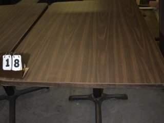 1 RESTAURANT TABLE -NEEDS BASE 30 X 42, BROWN FORMICA TOPS, ROUND METAL PEDASTAL AND 4 LEG BASED, MINOR SCRATCHES AND DISCOLORATION