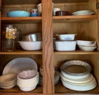 Corningware Dishes/Casseroles; Corelle Pieces; Southhampton Stoneware Collection; misc