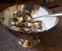 Towle Silverplated Punch Bowl; 7 Cups (ep); Lemond Silverplated Ladle