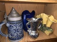 Stein; Blue Pitcher; Calla Lillies Vase; Silver Vase