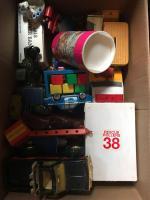 Trucks; bank; misc toys